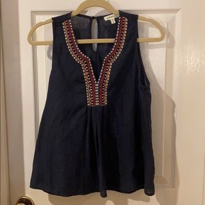 Navy Embroidered Tank